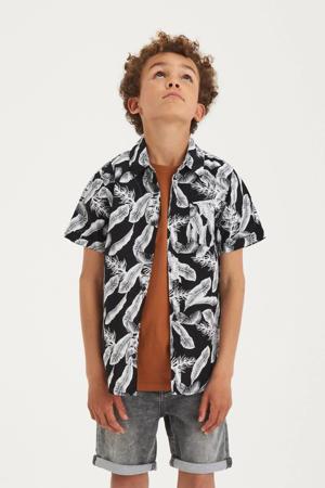 overhemd Flip met bladprint zwart/wit
