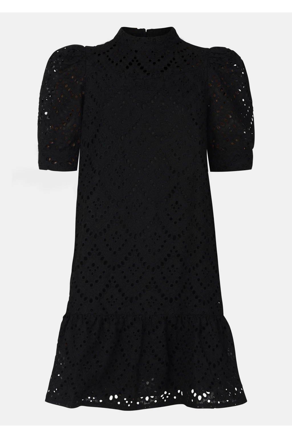 Jill & Mitch by Shoeby jurk Rainbow met volant zwart, Zwart