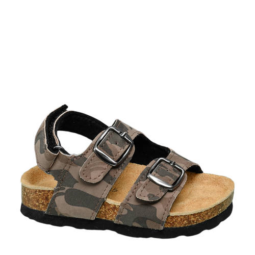 Bobbi-Shoes sandalen met camouflageprint kaki