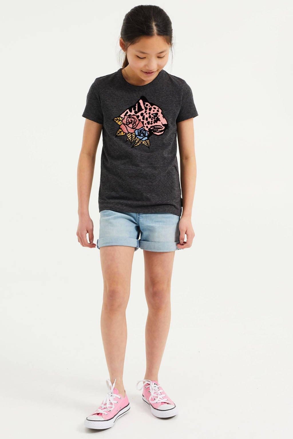 WE Fashion T-shirt met printopdruk en glitters donkerblauw, Donkerblauw
