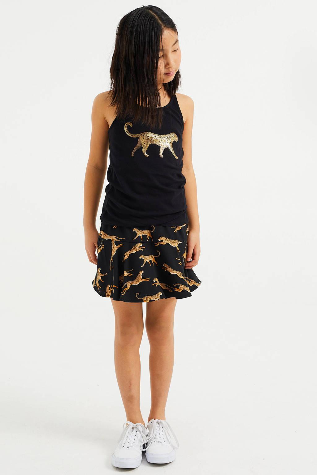 WE Fashion regular fit singlet met een pailettenopdruk zwart/goud, Zwart/goud