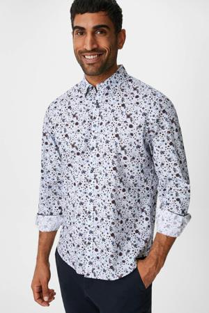 slim fit overhemd met all over print lila