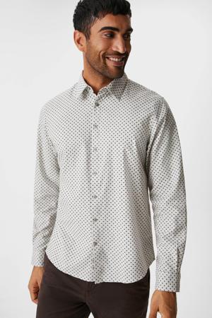 slim fit overhemd met all over print wit/zwart
