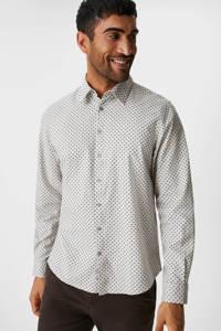 C&A Westbury slim fit overhemd met all over print wit/zwart, Wit/zwart