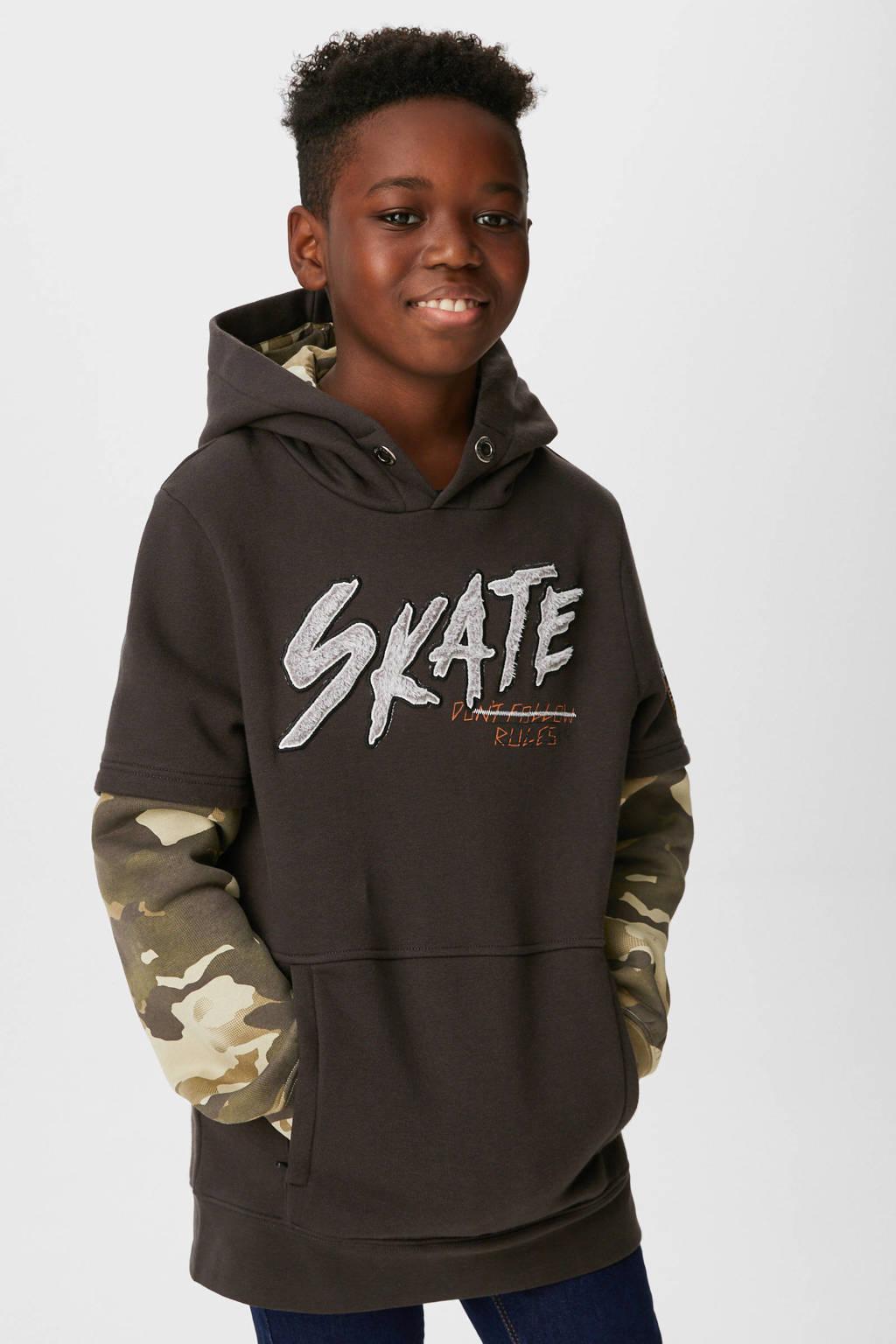C&A Here & There hoodie met camouflageprint zwart/army groen, Zwart/army groen