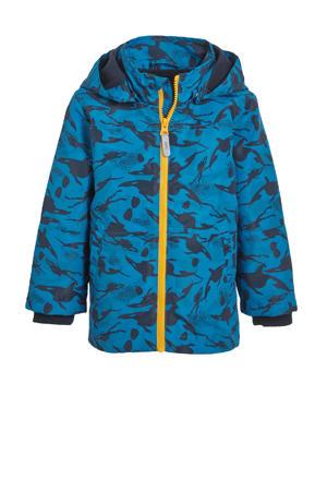 zomerjas Max met all over print blauw/zwart/geel