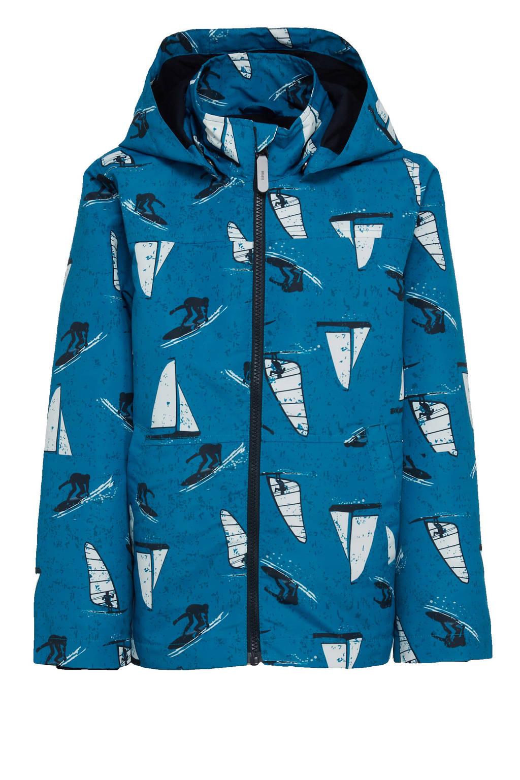 NAME IT KIDS  zomerjas Max met all over print blauw, Blauw