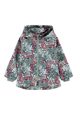 gebloemde  zomerjas Maxi donkerblauw/roze/groen