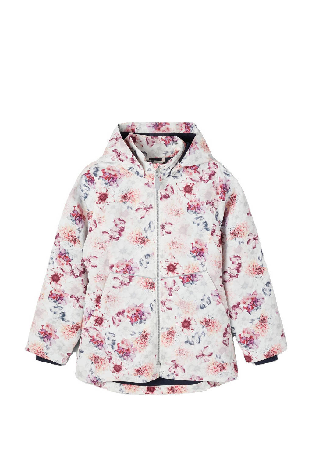 NAME IT KIDS gebloemde  zomerjas Maxi wit/roze, Wit/roze