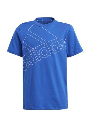 sport T-shirt kobaltblauw/wit