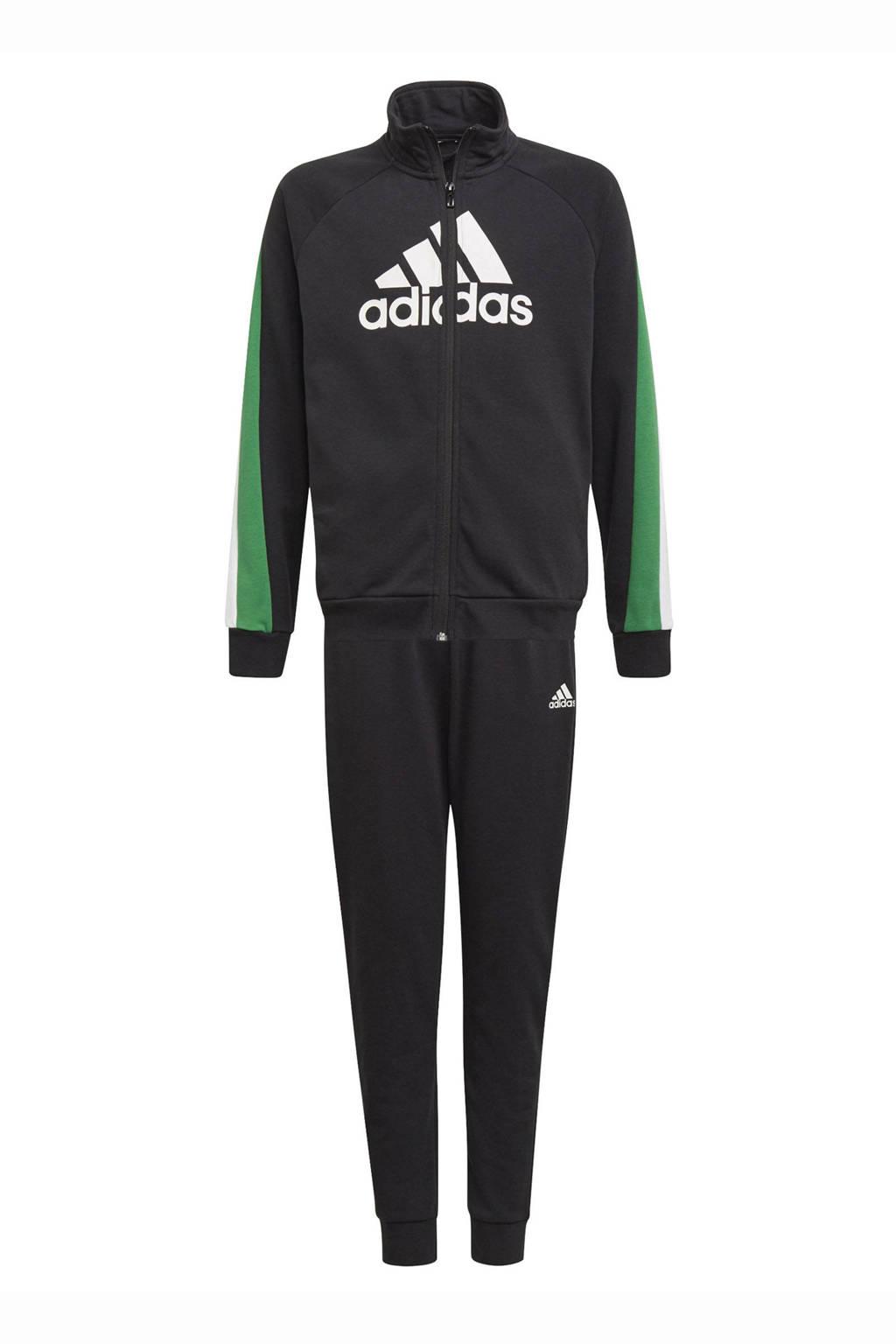 adidas Performance   trainingspak zwart/groen/wit, Zwart/groen/wit