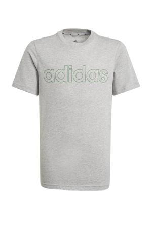 sport T-shirt grijs melange/groen