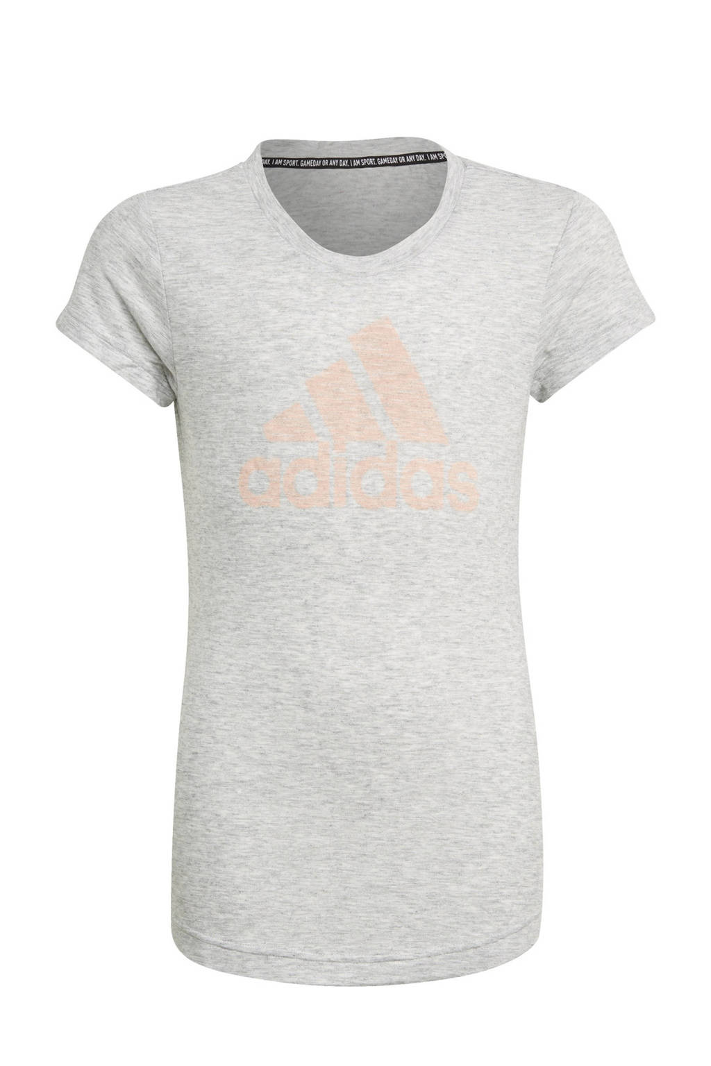 adidas Performance Girls In Power sport T-shirt lichtgrijs/lichtroze, Lichtgrijs/lichtroze