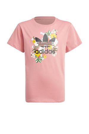 T-shirt lichtroze/zwart
