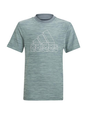 sport T-shirt grijsblauw/wit