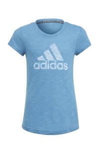 adidas Performance Girls In Power sport T-shirt blauw/wit, Blauw/wit