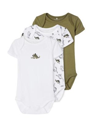 newborn baby romper - set van 3 dino's groen/wit