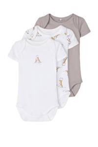 NAME IT BABY newborn baby romper - set van 3 giraffe beige/wit, Beige/wit
