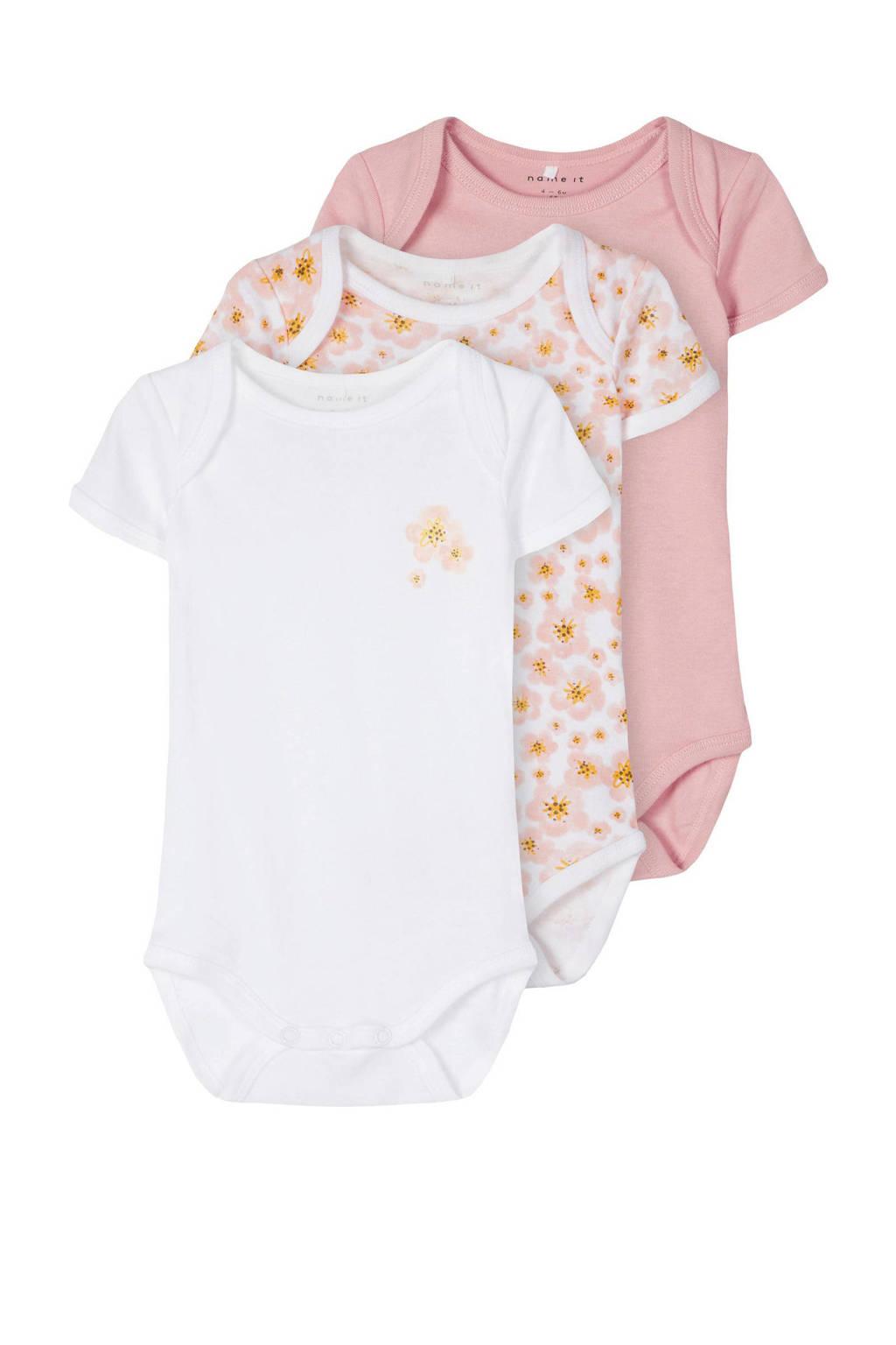 NAME IT BABY newborn baby romper - set van 3 bloemen roze/wit, Roze/wit