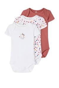 NAME IT BABY newborn baby romper - set van 3 stippen oudroze/wit, Oudroze/wit