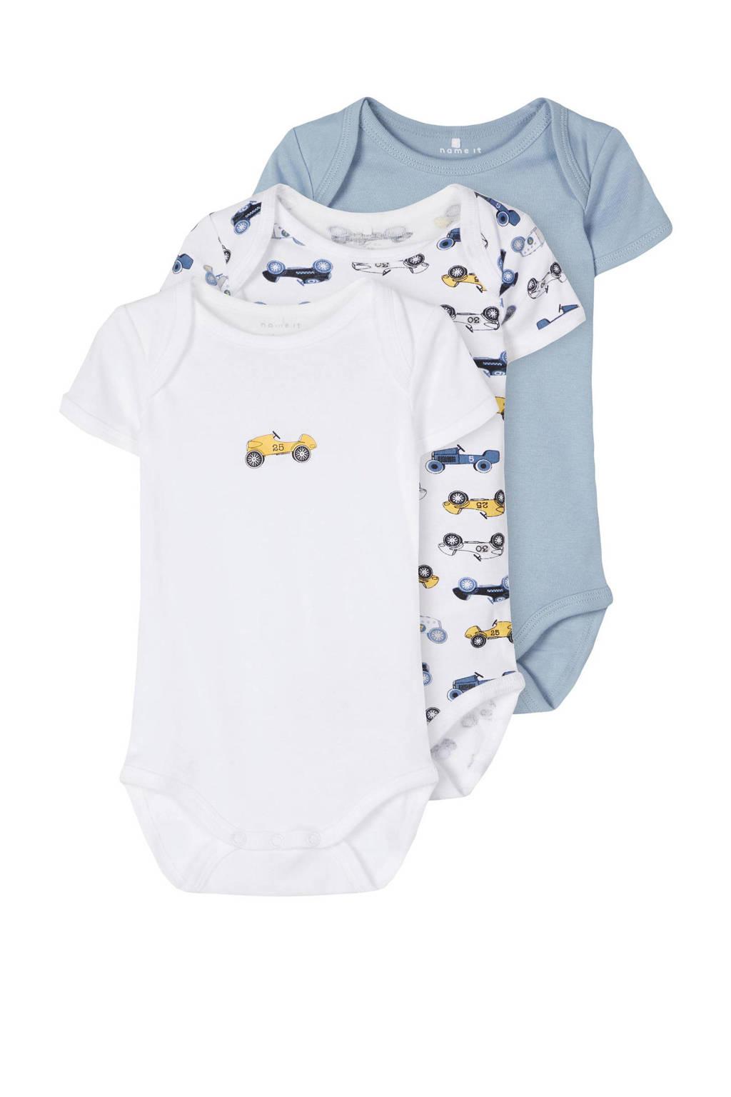 NAME IT BABY romper - set van 3 auto's blauw/wit, Lichtblauw/wit