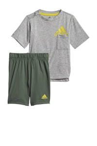 adidas Performance   sportset grijs melange/geel/groen