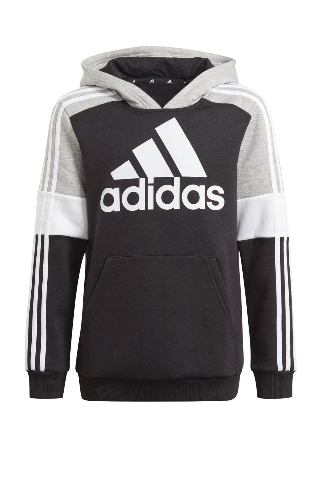 adidas Performance   fleece sporthoodie zwart/grijs melange/wit, Zwart/grijs melange/wit