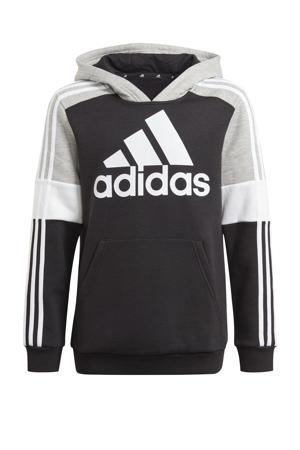 fleece sporthoodie zwart/grijs melange/wit