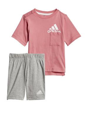 sportset roze/wit/grijs melange