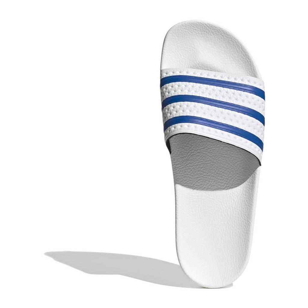 adidas Originals Adilette Aqua badslippers wit/blauw, Wit/blauw