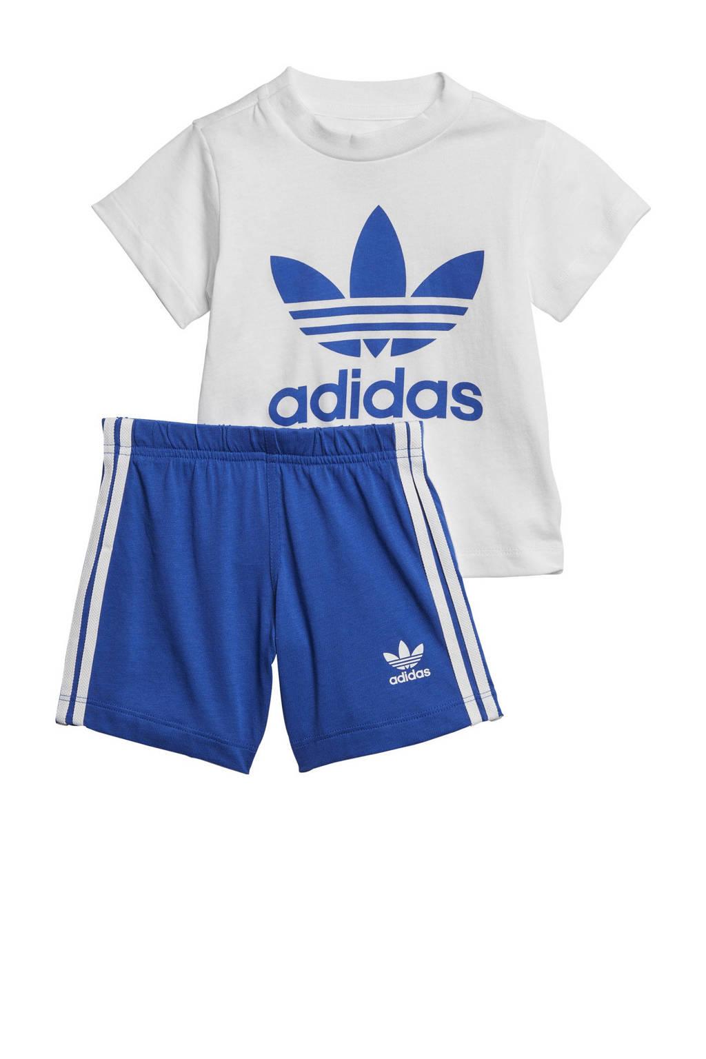 adidas Originals Adicolor T-shirt + short wit/blauw, Wit/blauw
