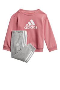 adidas Performance   joggingpak lichtroze/witgrijs melange