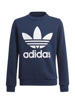 Adicolor sweater donkerblauw/wit