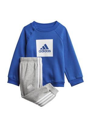fleece trainingspak blauw/grijs melange