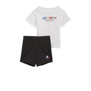 Adicolor T-shirt + short wit/zwart