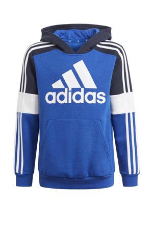 fleece sporthoodie kobaltblauw/donkerblauw/wit