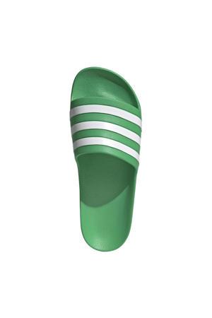 Adilette Aqua badslippers groen/wit