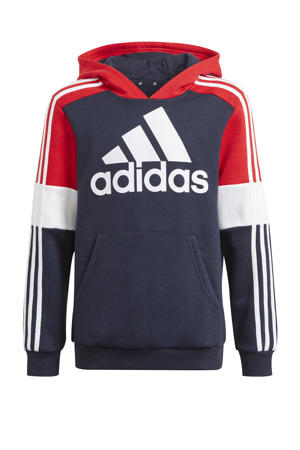 fleece sporthoodie donkerblauw/rood/wit