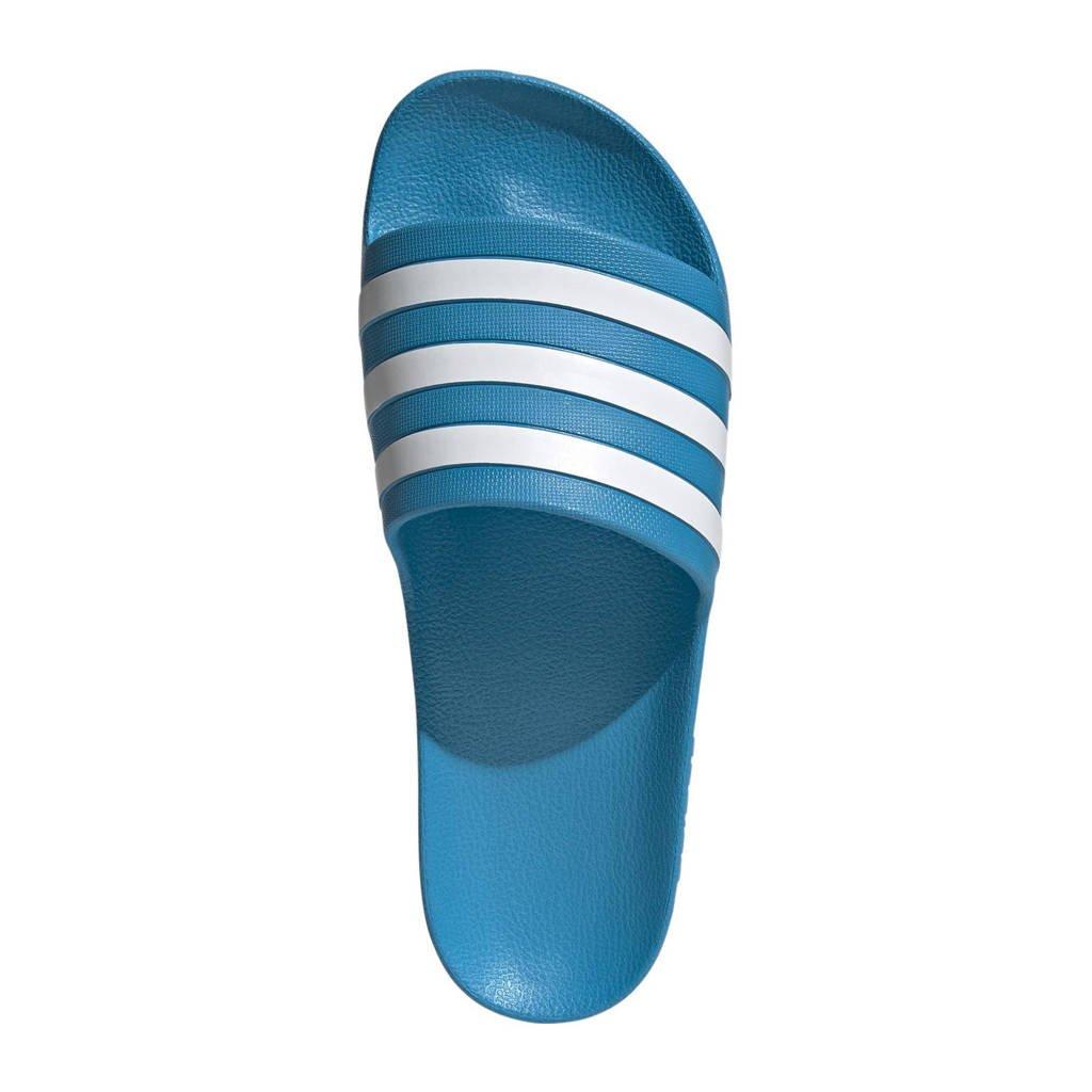 adidas Performance Adilette Aqua badslippers blauw/wit, Blauw/wit