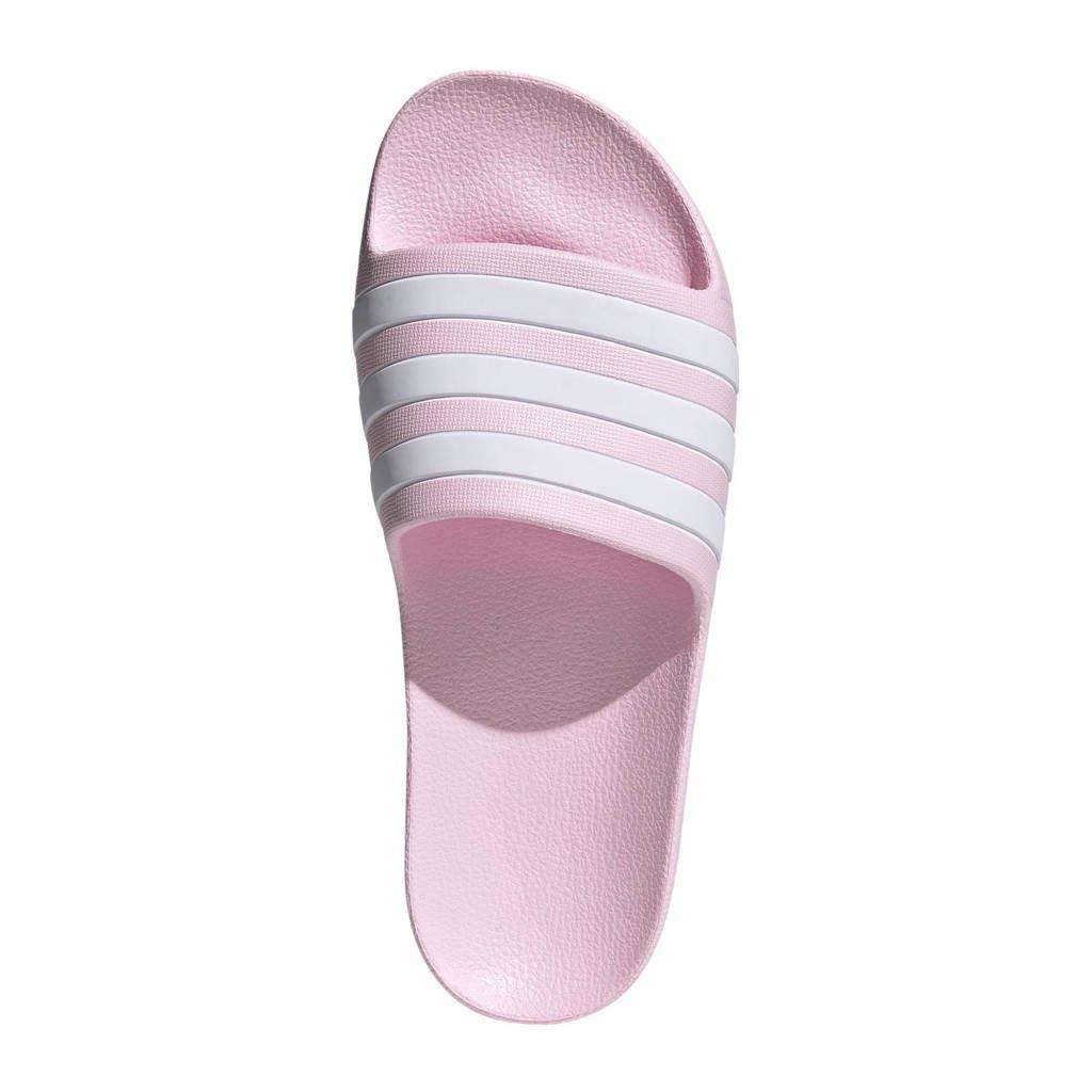 adidas Performance Adilette Aqua badslippers roze/wit, Roze/wit