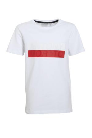T-shirt met logo en 3D applicatie wit