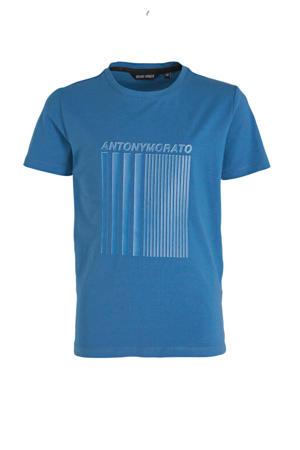 T-shirt met logo en 3D applicatie blauw