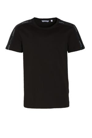 T-shirt met contrastbies zwart