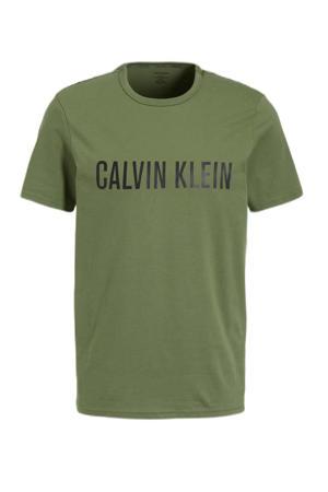 T-shirt met logoprint olijfgroen