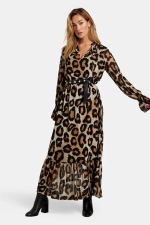 maxi jurk met all over print zwart/ecru
