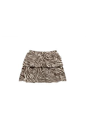 rok Skirt Zebra met zebraprint en ruches bruin/wit