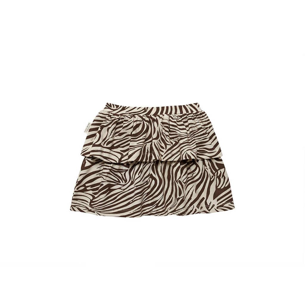 Little Indians rok Skirt Zebra met zebraprint en ruches bruin/wit, Bruin/wit