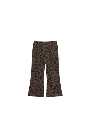 flared broek Flared Pants Leopard met dierenprint bruinzwart