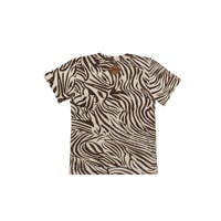 Little Indians T-shirt Boxy Tshirt Zebra met zebraprint bruin/wit, Bruin/wit