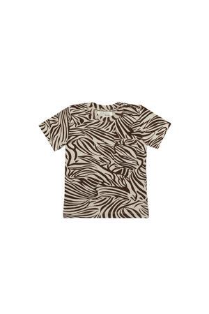 T-shirt Boxy Tshirt Zebra met zebraprint bruin/wit
